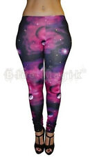 NEW PURPLE GALAXY PLANETS SPACE  PRINT LEGGINGS GOTH PUNK EMO HALLOWEEN