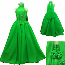 New Green Pageant Wedding Recital Formal Party Dress 4 Girl  size:7 8 10 12 14