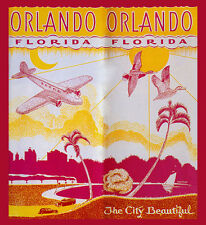 Orlando Florida The City Beautiful Birds Airplane Vintage Poster Repro FREE S/H