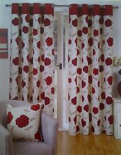 EYELET TOP -  JAMAICA RED FLORAL CURTAINS IN A CHOICE OF 5 SIZES LATEST RANGE