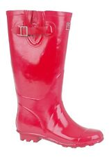 WOMENS WIDE CALF FITTING RED/PINK  RIDING WELLIES WELLINGTONS FAB278