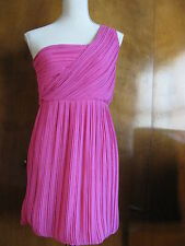 New Theory Taliana rubellite one shoulder 100% silk evening dress  Size 12 $415