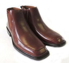 New MENS LEATHER ANKLE BOOTS CASUAL ZIPPERED  STRETCH FIT DRESS SHOES / BROWN