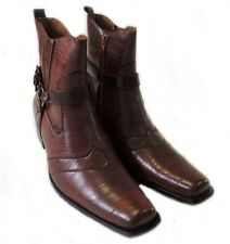 NEW PREMIUM CASUAL MENS HIGH ANKLE BOOTS LEATHER ZIPPERED  DRESS SHOES / BROWN