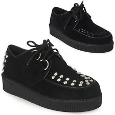 WOMENS LADIES LACE UP FAUX SUEDE PUNK GOTH HIGH PLATFORM FLAT CREEPER SHOES 3-8