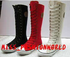 HOT New Knee High PUNK Gothic Canvas Shoes UP Boots Sneakers 2 Colors Size 35-43