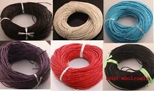 100&10 meters  Real Leather Cord Length Jewelry Necklace String Thread 7color