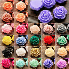 20pcs Cabochon Resin Rose Flower Spacer Beads10mm ,10Colors
