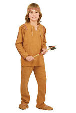 CHILD NATIVE AMERICAN INDIAN BRAVE COSTUME KIDS BOY INDIAN COSTUME SHIRT PANTS