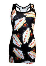 NEW LADIES LAS VEGAS PRINT LONG VEST TANK TOP GOTH PUNK EMO