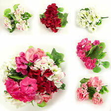 Small Hydrangea Blossom Bush Artificial Flowers with Leaves in 5 Colours