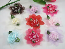 "30PCS Organza Ribbon lotus cabbage spend 2.4 ""Flower Apppliques Bow-8 Colors"