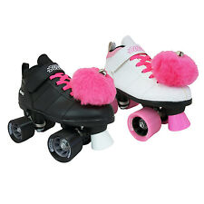 Chicago Bullet Quad Speed Skates with Pink Laces & Pink Pom Poms
