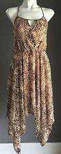 NEW with tags Brown Animal Print Assymetrical Hemline Dress Size 8,12 & 14