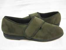 MENS BALMORAL OLIVE VELOUR VELCRO SLIPPERS (VS-K4299)