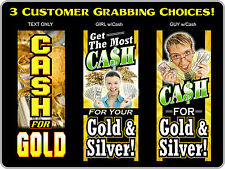 We Buy Gold & Silver Banner Sign Pawn Shop cash for coins jewelry silver neon al