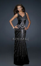 SET A SHINING EXAMPLE! BLACK FORMAL/EVENING/PROM/BALL GOWN WITH BEADING STREAMS