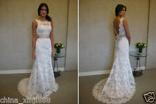 New custom white ivory Lace Wedding Dress Bride gown 2.4.6.8.10.12.14.16.18.20.