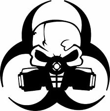 Zombie Outbreak Skull Gas Mask Bio Hazard Sticker Decal 4 Laptop Car Window RC
