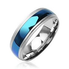 Men's Blue Plain Center 8mm Stainless Steel Ring  US Size 6-15 Half Size SR011