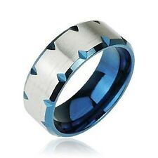 Men's Blue Edge Faceted 8mm Stainless Steel Ring  US Size 8.5-14 Half Size SR012