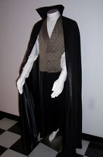 DRACULA Cape Vampire Cloak Black Stand Up Collar Men's S to XXL Red Wine Silver