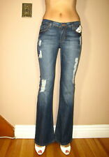 $198 Dylan&George Alexandra Flare Low Rise Stretch Jeans Tzar Dark Distressed 24