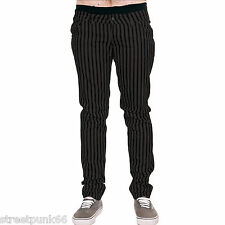 DRAINPIPE STRETCH SKINNY JEANS GREY STRIPE MENS UNISEX INDIE ROCK GLAM RETRO NEW