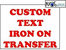 * CUSTOM IRON ON T SHIRT TRANSFER * PERSONALISED TEXT RED FONT *LIGHT*