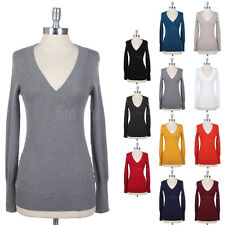 Deep V Neck Long Sleeve Pullover Warm Cotton Tunic Ribbed Sweater Comfortable