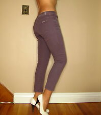Seven 7 For All Mankind Cropped Skinny Mid-Rise Violet Purple Colored Jeans 31