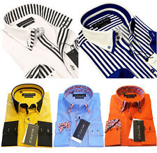 MENS SHIRT SMART FORMAL DOUBLE COLLAR LONGSLEEVE