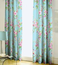 """Catherine Lansfield Blue Pink Canterbury Lined Pencil Pleat Curtains 66""""x72"""""""