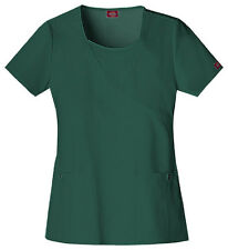 Scrubs Dickies Xtreme Stretch Mock Wrap Top 82814 Hunter FREE SHIPPING!