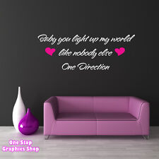 ONE DIRECTION - BABY YOU LIGHT UP MY WORLD WALL ART QUOTE STICKER, BEDROOM LOVE