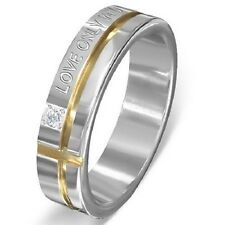 Personalized Stainless Steel Two Tone Affirmation Love Promise Ring