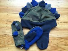 NWT Baby GAP Pro Fleece Dinosaur Trapper Hat & Mittens Olive Camo NEW Camouflage
