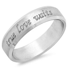 True Love Waits Stainless Steel Promise Ring - Free inside Engraving