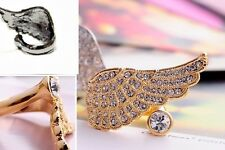 Vintage Lovely Exquisite Sweet Rhinestone Angel Wing Ring Gold/Black