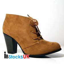Ladies Womens Winter Ankle Boots Lace Up Shoes Size 3 4 5 6 7 Brown -Darcey