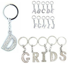 Initial Key Ring Silver Studded with Clear Crystals All 26 Initial A - Z Keyring