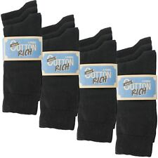 12 Pairs - Cotton Rich Superior Quality Socks Size 7-11 Black Or Mix Pack