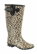 WOMENS EXTRA WIDE CALF FITTING LEOPARD PRINT RIDING WELLIES WELLINGTONS FAB426