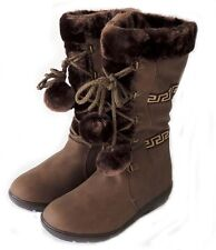 NEW WOMEN POM POM LACE UP FUR LINED FLAT HEEL WINTER BOOTS COCO-01 / BROWN