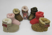 Baby Girls Brown Pink   Snugg Sheepskin Boots Slippers Lia Couture size 4 5 6