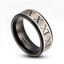 Tungsten Carbide 8mm Silver Roman Numeral Stripe Band Ring  Size 9-14 TG008