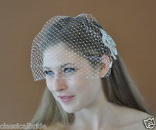 CRYSTAL RHINESTONE EDGE 9 Inch Short Birdcage Blusher Veil In Ivory or White