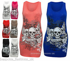 WOMENS FOREVER YOUNG SKULL PRINT LADIES VEST TOP TEE T-SHIRT PLUS SIZE 8 - 20