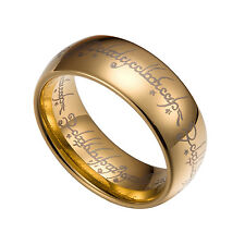 Gold Tungsten Carbide 5 6 7 8MM Lord Of The Rings Band Plain Size 5-13 HT3