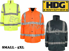 High Viz Safety Waterproof Storm Padded Warm Work Wear Construction Coat